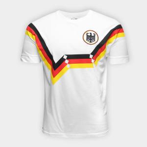 Camiseta Alemanha 1990 Retrô Times Masculina - Branco