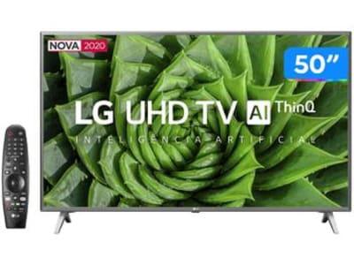 "Smart TV 4K LED 50"" LG 50UN8000PSD Wi-Fi Bluetooth - HDR Inteligência Artificial 4 HDMI 2 USB - Magazine Ofertaesperta"