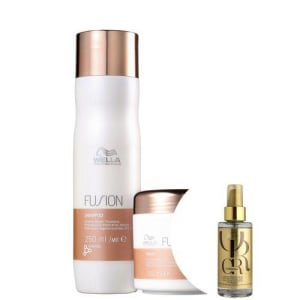 Kit Wella Fusion Shampoo+máscara+óleo Oil Reflections 100ml
