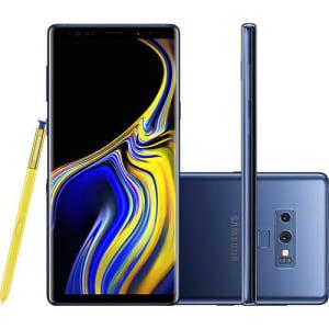 """Smartphone Samsung Galaxy Note 9 128GB Nano Chip Android Tela 6.4"""" Octa-Core 2.8GHz 4G Câmera Dupla 12MP 6GB RAM + Caneta S Pen com Controle Remoto - Azul"""