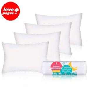 Kit Promocional 4 Travesseiros Fofura: Tecnologia com Toque Massageador em Fibra Siliconizada - Santista