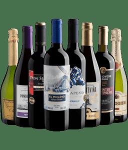 Kit 8 vinhos por R$31,90 cada garrafa