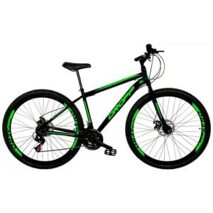 Bicicleta Aro 29 Quadro 17 Freio a Disco Mecânico 21 Marchas Aço Preto Verde - Dropp