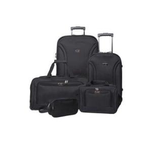 Conjunto 2 malas, 1 Sacola, 1 Porta Laptop e 1 Necessaire Swiss Move Friburgo Preta 5 Peças