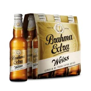 Cerveja Brahma Extra Weiss 355ml Caixa com 06 unidades