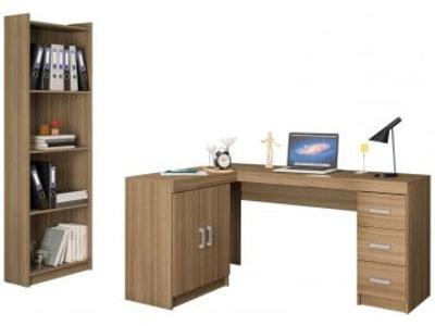 Conjunto Liberdade 2 Portas 3 Gavetas Politorno - com Mesa para Computador/Escrivaninha e Estante - Magazine Ofertaesperta