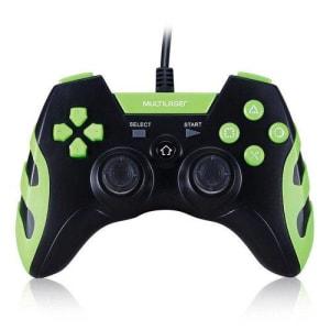 Controle Gamer Warrior Ps3 Ps2 Pc Preto E Verde Multilaser MUL-252