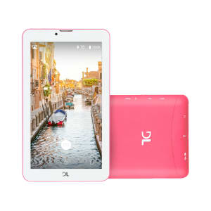 "Tablet DL Mobi Tab TX384PIN Wi-Fi 8GB Android 7 Tela 7"" Câmera Frontal 0.3MP Rosa e Branco"