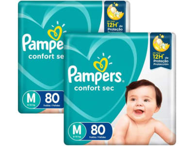 Kit Fraldas Pampers Confort Sec Tam. M 6 a 10kg - 2 Pacotes com 80 Unidades Cada - Magazine Ofertaesperta