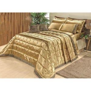 Enxoval Queen Size 13 Peças Casa Modelo - Cobre Leito e Jogo de Cama Cetim Safari Dourado