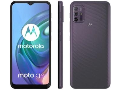 "Smartphone Motorola Moto G10 64GB Cinza Aurora - 4G 4GB RAM Tela 6,5"" Câm. Quádrupla + Selfie 8MP - Magazine Ofertaesperta"