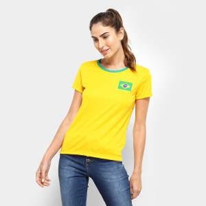 Camisa Brasil Torcedor Feminina - Amarelo