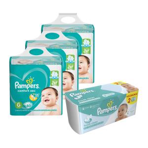 Kit Pampers - Fralda G Confort Sec Super 180 UN + Lenço Umedecido Fresh Clean 96 UN