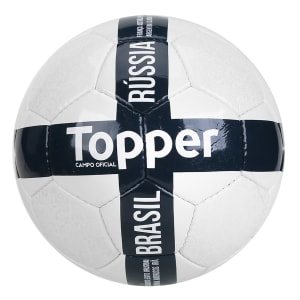Oferta ➤ Bola de Futebol Campo Topper Seleções Brasil Rússia – Branco e Azul   . Veja essa promoção