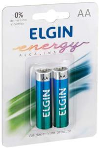 Kit Pilhas Alcalinas com 2X AA, Elgin, Baterias