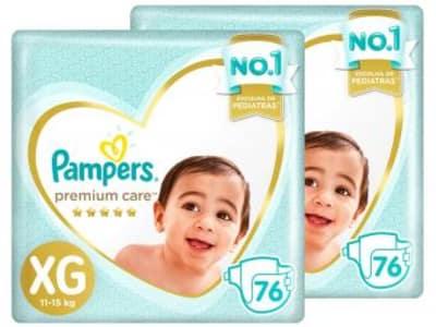 Fraldas Pampers Premium Care Tam. XG - 2 Pacotes com 76 Unidades Cada - Magazine Ofertaesperta