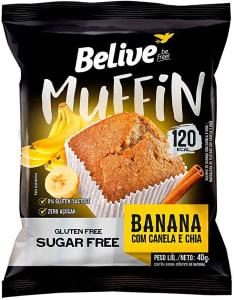 4 Unidadades Muffin Banana com Canela e Chia Zero Açúcar sem Glúten sem Lactose Belive 40g