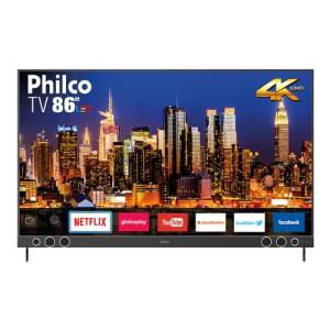 "Smart TV LED 86"" Philco PTV86P50SNSG Ultra HD 4k com Soundbar 4HDMI 2USB Wi-Fi 60Hz - Titânio"