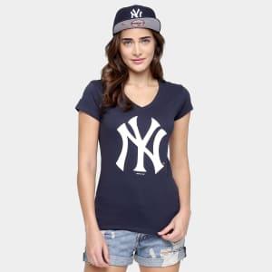 Camiseta New Era MLB Babby Look New York Yankees Feminina - Marinho