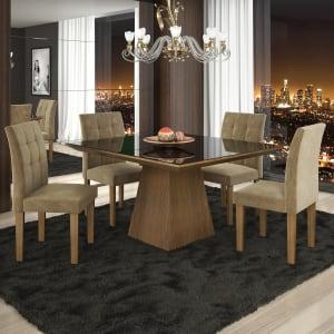 Conjunto Sala de Jantar Mesa 4 Cadeiras Pietra Stilo Siena Móveis Castanho