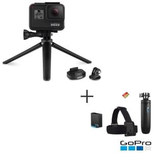 Câmera Digital GoPro Hero 8 Black 12MP 4K + Bateria Extra + Cartão SD 32GB + Shorty + Faixa + Tripe com Suporte-ABQRT-002