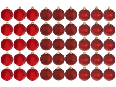 [2 CORES] Kit Bola de Natal Vermelha NATAL073 Casambiente - 6cm 45 Unidades