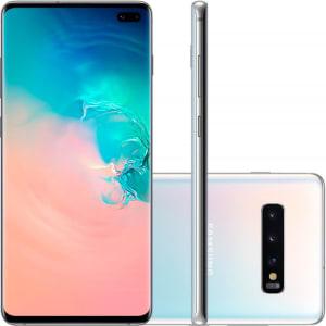 "Smartphone Samsung Galaxy S10 Plus Tela 6,4"" 128GB Dual Chip OctaCore Câmera Traseira Tripla Branco"