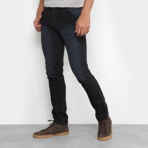 Calça Jeans Skinny Preston Estonada Black Masculina - Preto