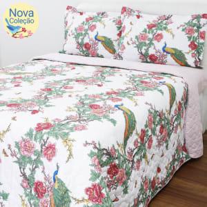 Cobreleito Casal Encanto Percal 180 Fios 3 Peças - Casa & Conforto Canto Dos Pássaros