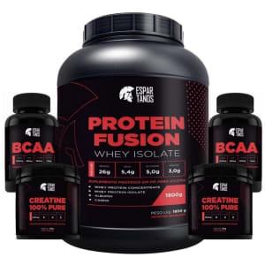 Kit Protein Fusion Whey Isolate 1,8kg + 2x Creatina 100g Cada + 2x Bcaa 60 Capsulas Cada