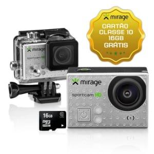 """Câmera de Ação Sport HD Mirage 5MP Tela LCD 2"""" + Cartão 16GB Prata"""