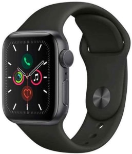 Apple Watch Series 5 Gps - 40 mm - Alumínio Cinza Espacial - Pulseira Esportiva Preto e Fecho Clássico - Mwv82bz/a