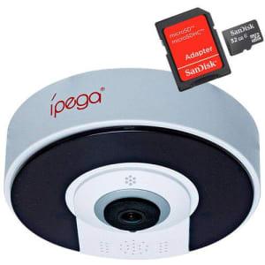 Kit Câmera Ip Wifi Ípega Vr Cam 360° Panorâmica HD 960p Áudio Com Cartão Sd 32gb