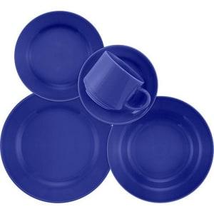 Aparelho de Jantar e Chá 20 Peças Cerâmica Donna Azul - Biona