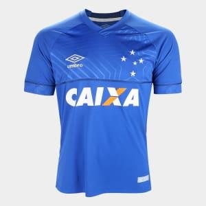 Oferta ➤ Camisa Cruzeiro I 18/19 s/n° C/ Patrocínio – Torcedor Umbro Masculina – Azul e Branco   . Veja essa promoção