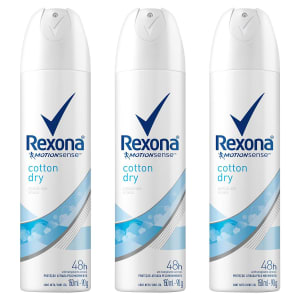 Kit Desodorante Rexona Cotton Dry 48 Horas Aerosol Feminino 150ml com 3 Unidades