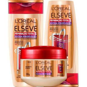 Kit Shampoo Rt5 Extra Profundo 400Ml  Elseve + Condicionador Rt5 Extra Profundo 400Ml  Elseve + Creme de Tratamento Rt5 Extra Profundo 300G  Elseve (Cód. 133142088)