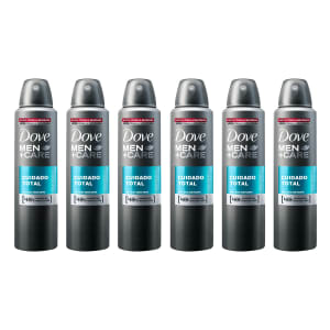Kit Desodorante Dove Men Care Cuidado Total Aerosol Masculino 150ml com 6 unidades - Incolor