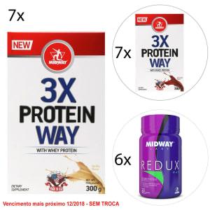 Kit Midway Way Protein 3X + Way Protein 3X + Redux Way 60 Cáps