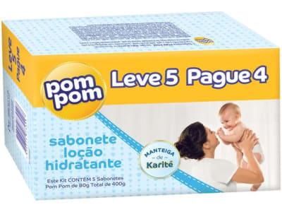 Sabonete Infantil Pom Pom Hidratante 80gr - 5 Unidades - Magazine Ofertaesperta
