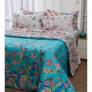 Enxoval Cama Queen Papillon Azul 7 Peças - Casa & Conforto