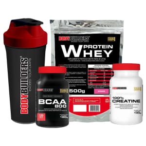 Kit Whey Protein 500g Morango + BCAA 800 120 Tabletes + 100% Creatine 100g