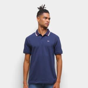 Camisa Polo Tommy Jeans Básica Masculina - Azul Escuro