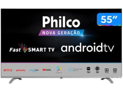 "Smart TV UHD D-LED 55"" Philco PTV55Q20AGBLS - Android Wi-Fi 3 HDMI 2 USB - Magazine Ofertaesperta"