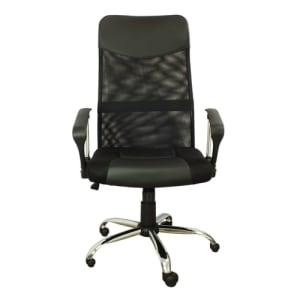 Cadeira Presidente Pel-8009 Giratória Regulagem De Altura A Gás Tela Mesh Preta