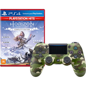Controle Dualshock 4 Green Camouflage + Jogo Horizon Zero Dawn Complete Edition Hits - PS4
