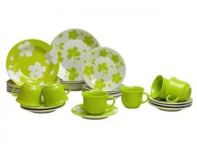 Aparelho de Jantar Chá 20 Peças Biona Cerâmica - Redondo Verde e Branco Primavera