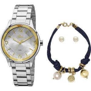 ce3f03c2623 Relógio Feminino Allora Analógico Fashion com Pulseira e Brinco  Al2035fat k3k