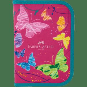 Estojo Escolar De Nylon Faber Castell Borboleta Rosa 12 Cores + Kit (Cód: 9866499)