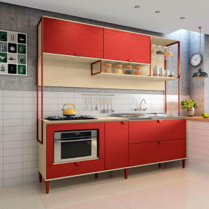 Conjunto Cozinha CBPO020-P2 - Kappesberg POP - Pine / Marsala